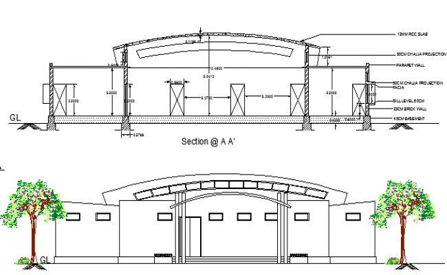 Guest house for hospital staff elevation and sectional view dwg file