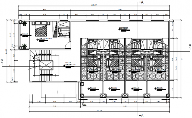 Guest house plan 23.40mtr x 10.00mtr with detail dimension in dwg file