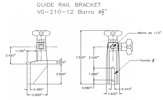 Guide rail bracket architecture project dwg file