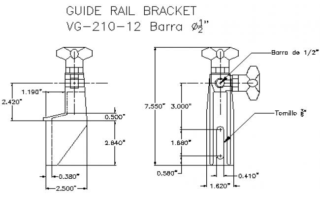 Guide rail bracket lateral conveyor design drawing