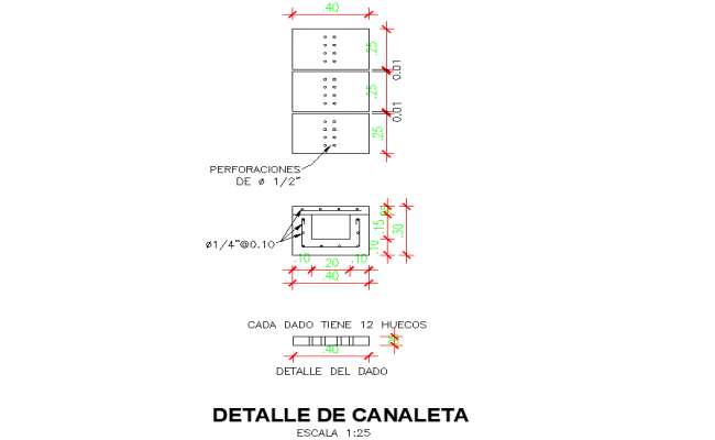 Gutter plan detail autocad file