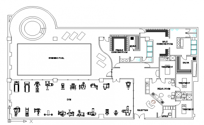 Gym layout plan dwg file