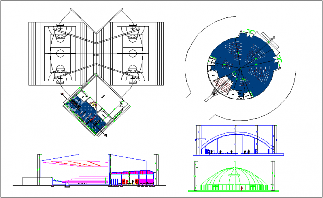 Gymnasium plan and elevation dwg file