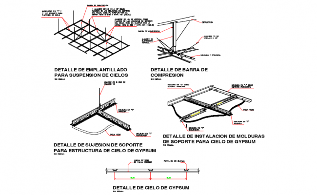 Gypsum ceiling detail view with structure view dwg file