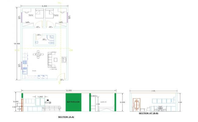 HOUSE PLAN G.F and SECTIONS