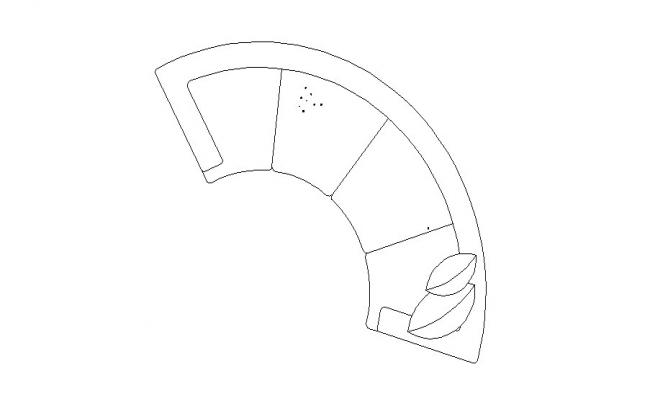 Half round shape sofa set top view elevation block details dwg file