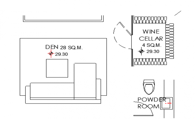 Hall and powder room layout
