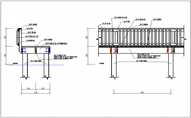 Hand railing of open balcony detail view dwg file