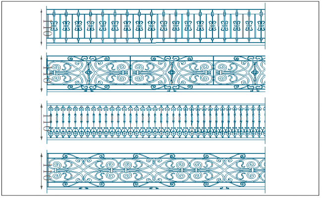 Hand railing plan elevation view detail dwg file