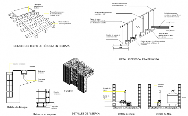 handrail section detail dwg file