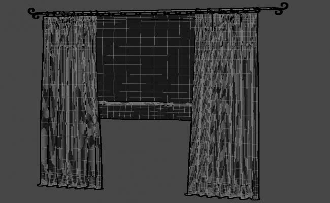 Hanging Curtain Design With Rod Rendered In 3D MAX File