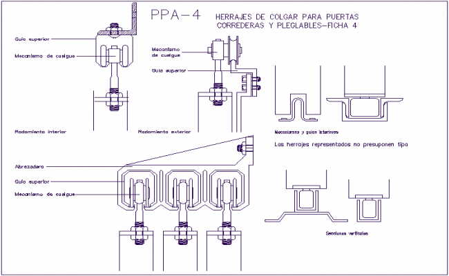 Hanging tool design view for door dwg file for Porte a libro dwg