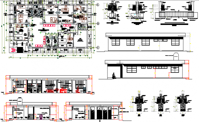 Health care center architecture project dwg file