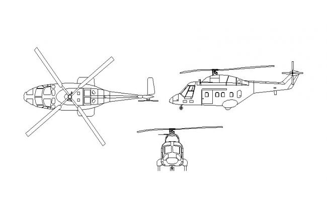 Helicopter all sided elevation block cad drawing details dwg file