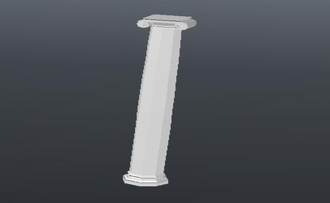 Hexagonal column 3d cad design block dwg file
