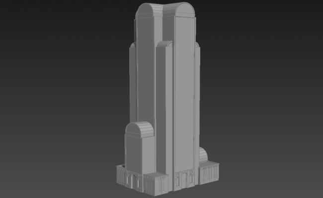 High Rise Block Elevation Of Commercial Building 3D MAX File Free