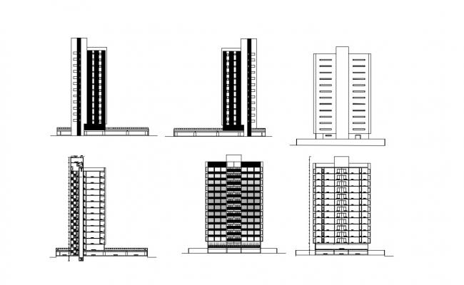 High Rise Building Elevation Designs DWG File Free Download