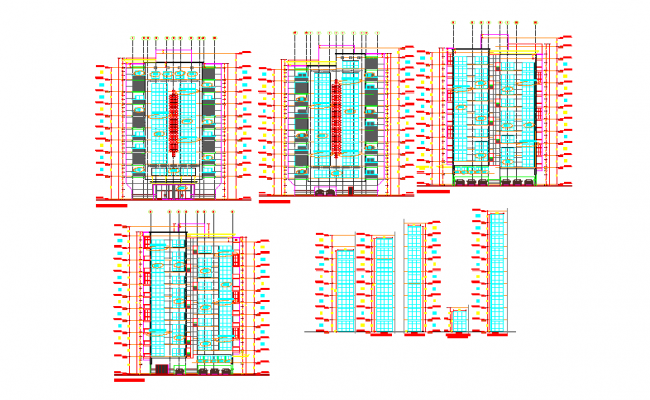 High Rise Building elevation detail.