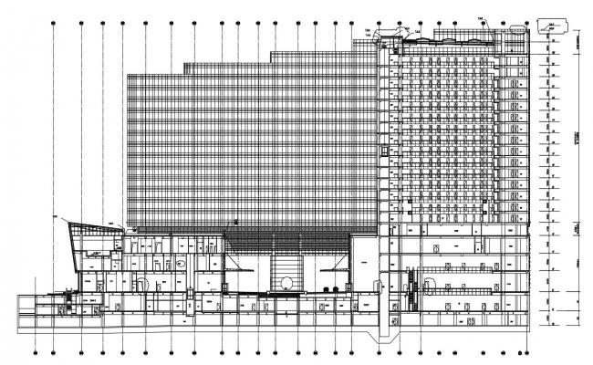 High Rise Commerce Building Section Drawing