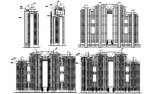 High Rise Contemporary Apartment Elevations AutoCAD File