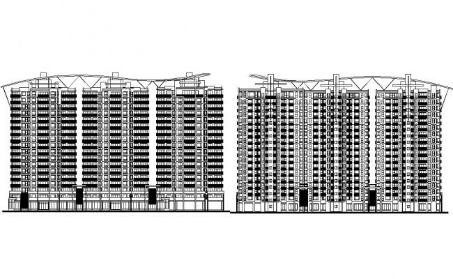 High Rise Modern Apartment Elevation AutoCAD File