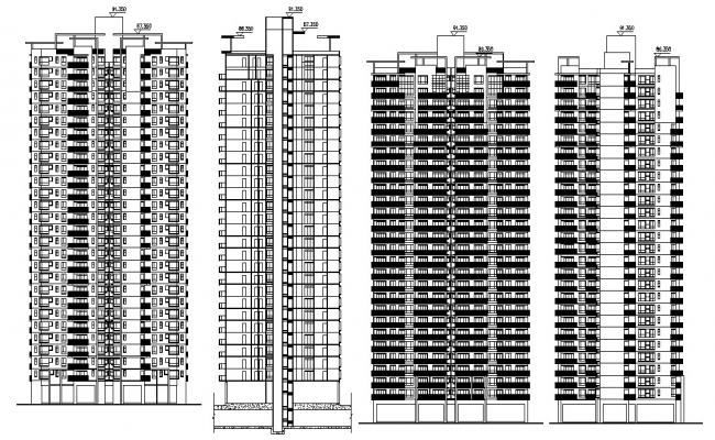 High Rise Modern Apartment Elevation Autocad File Download