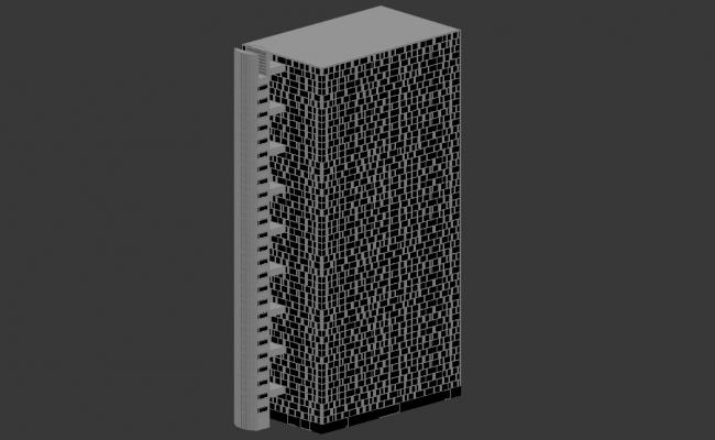 High Rise Rectangle Shape Commence Building 3d Max File