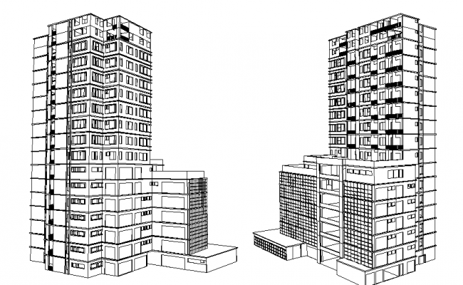 High rise 3 D commercial building elevation plan detail dwg file