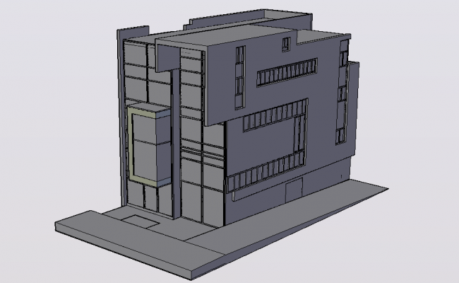 High rise building 3d model view dwg file