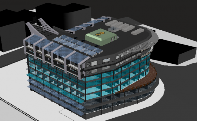 High rise building 3d modeling view dwg file