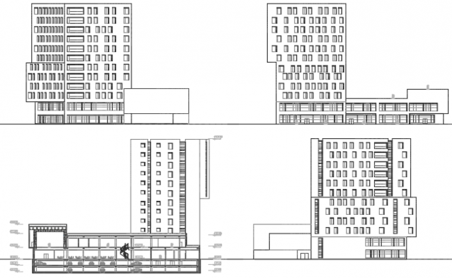 High rise building elevation and section detail dwg file