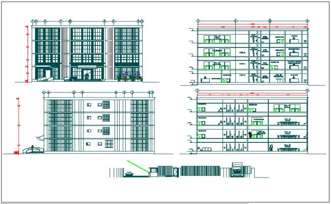 High rise building elevation design dwg file
