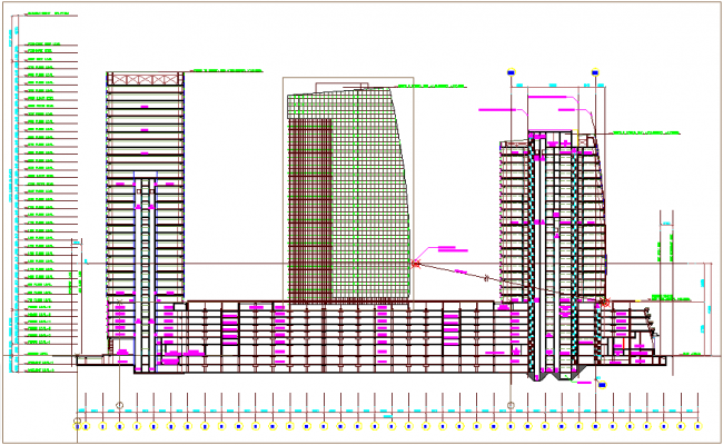 High rise building elevation design view with floor level dwg file