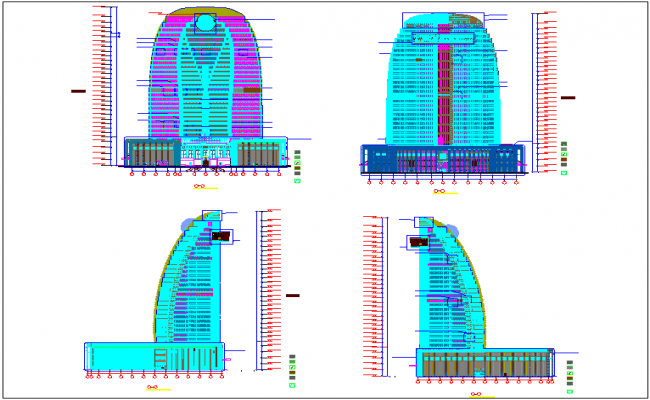 High rise building elevation design view with side view dwg file