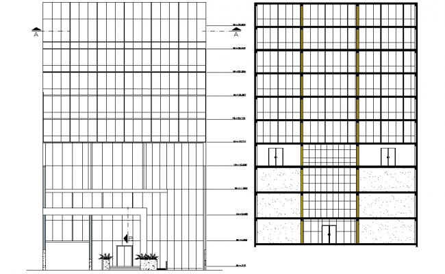 High rise building elevation detail