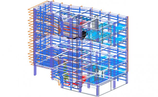 High rise building elevation plan detail dwg file