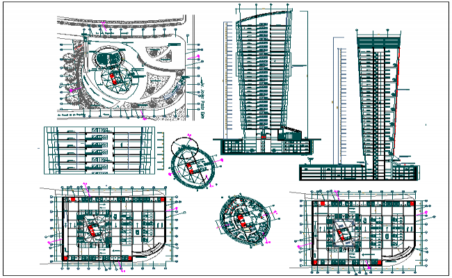 High rise building floor plan elevation and section view for High elevation deck plans