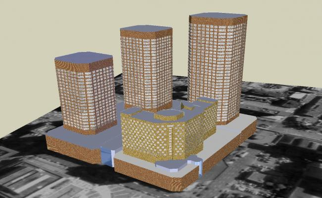 High rise building in 3D