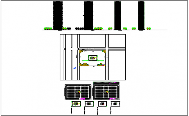 High rise building in detail dwg file