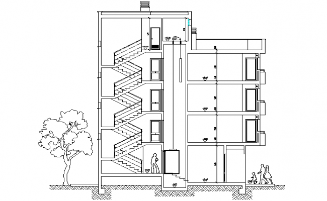 High rise building section detail dwg file