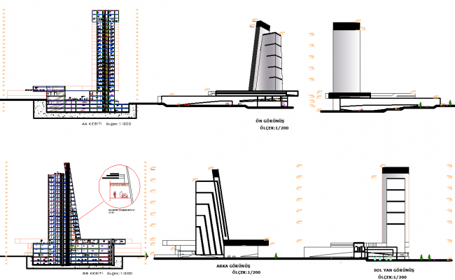 High rise building section view detail dwg file