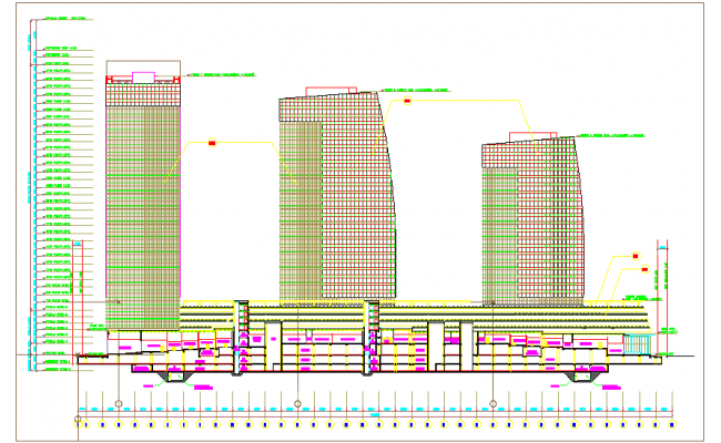 High rise building sectional view with floor view dwg file