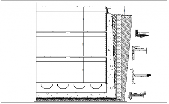High-rise building side elevation view detail diagram dwg file