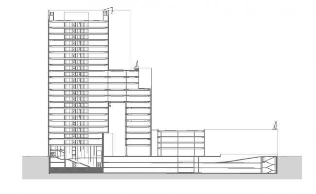 High rise building structure detail 2d view layout file in dwg format