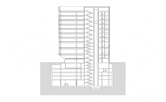 High rise building structure elevation 2d view layout dwg file