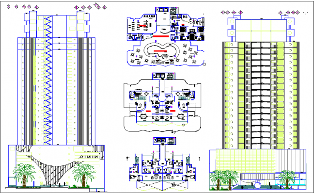 High rise commercial building elevation section view and for High elevation deck plans