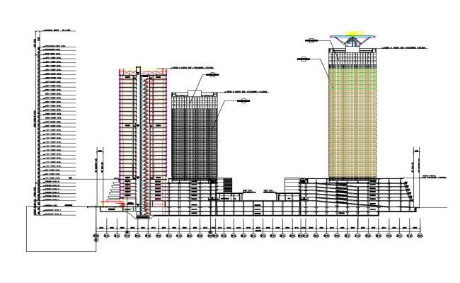 High rise corporate tower building section cad drawing details dwg file