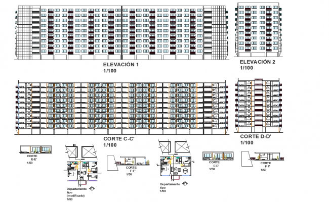 High rise elevation and section detail dwg file