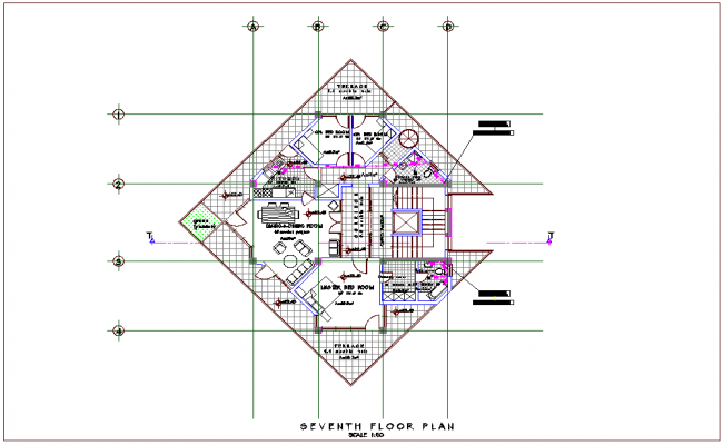 High rise mixed use use building seventh floor plan dwg file