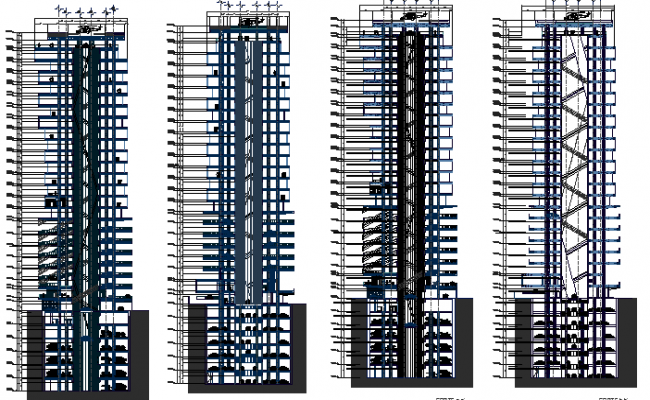 High rise multi-functional building all sided elevation dwg file
